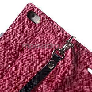 Dvoubarevné peněženkové pouzdro na iPhone 5 a 5s - rose/tmavěmodré - 6