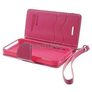 Dvoubarevné peněženkové pouzdro na iPhone 5 a 5s - růžové/rose - 6