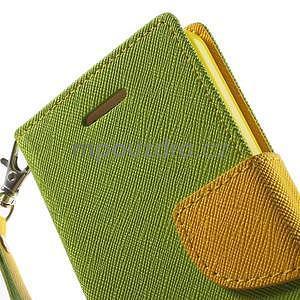 Dvoubarevné peněženkové pouzdro na iPhone 5 a 5s - zelené/žluté - 6
