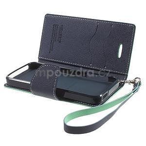 Dvoubarevné peněženkové pouzdro na iPhone 5 a 5s - azurové/tmavěmodré - 6