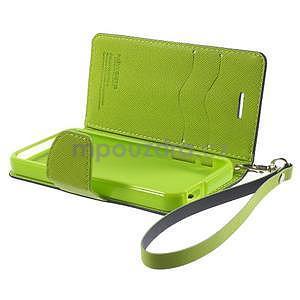 Dvoubarevné peněženkové pouzdro na iPhone 5 a 5s - tmavěmodré/zelené - 6