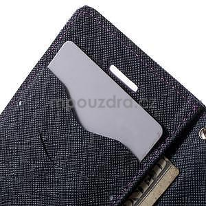Dvoubarevné peněženkové pouzdro na iPhone 5 a 5s - fialové/tmavěmodré - 6