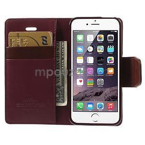 Peněženkové koženkové pouzdro na iPhone 5s a iPhone 5 - vínové - 6