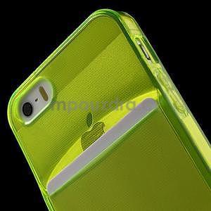 Ultra tenký obal s kapsičkou pro iPhone 5 a 5s - zelenožlutý - 6