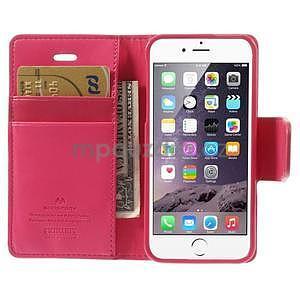Peněženkové koženkové pouzdro na iPhone 5s a iPhone 5 - rose - 6