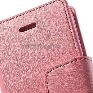 Peněženkové koženkové pouzdro na iPhone 5s a iPhone 5 - růžové - 6