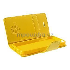 Peněženkové koženkové pouzdro na iPhone 5s a iPhone 5 - žluté - 6