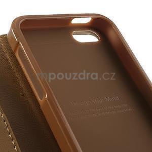 Peněženkové koženkové pouzdro na iPhone 5s a iPhone 5 - coffee - 6