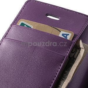 Peněženkové koženkové pouzdro na iPhone 5s a iPhone 5 - fialové - 6