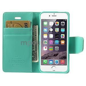 Peněženkové koženkové pouzdro na iPhone 5s a iPhone 5 - azurové - 6