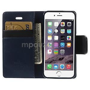 Peněženkové koženkové pouzdro na iPhone 5s a iPhone 5 - tmavěmodré - 6
