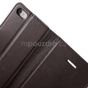 Peněženkové koženkové pouzdro na iPhone 5 a iPhone 5s - tmavěhnědé - 6