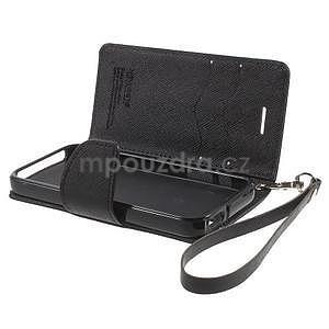 Dvoubarevné peněženkové pouzdro na iPhone 5 a 5s - černé/ černé - 6