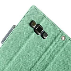 Diary PU kožené pouzdro na Samsung Galaxy A3 - cyan - 6
