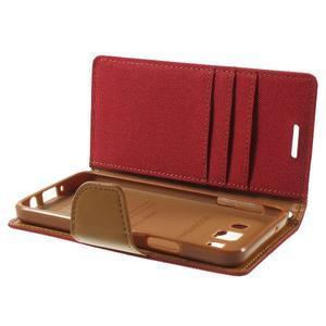 Luxury textilní/koženkové pouzdro na Samsung Galaxy A3 - červené - 6
