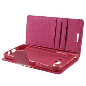 Luxury textilní/koženkové pouzdro na Samsung Galaxy A3 - rose - 6