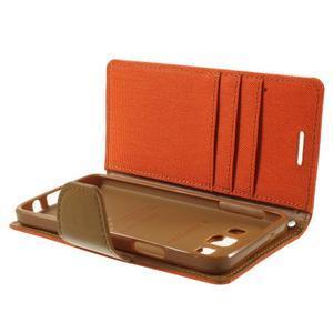 Luxury textilní/koženkové pouzdro na Samsung Galaxy A3 - oranžové - 6