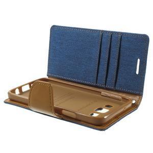 Luxury textilní/koženkové pouzdro na Samsung Galaxy A3 - modré - 6