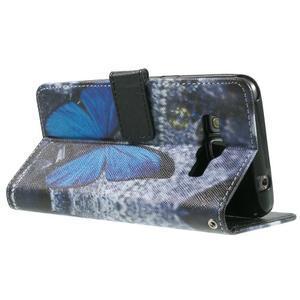Wallet PU kožené pouzdro na mobil Samsung Galaxy Grand Prime - modrý motýl - 6