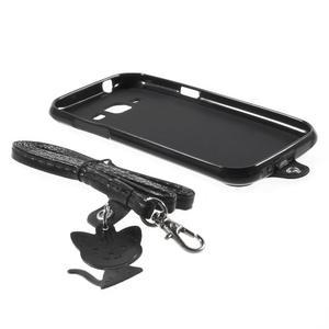 Obal s koženkovými zády a kočičkou Domi pro Samsung Galaxy J1 - černý - 6