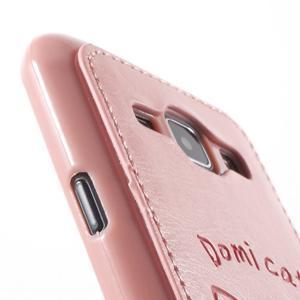 Obal s koženkovými zády a kočičkou Domi pro Samsung Galaxy J1 - růžový - 6