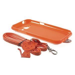 Obal s koženkovými zády a kočičkou Domi pro Samsung Galaxy J1 - oranžový - 6
