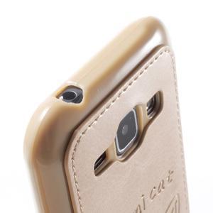Obal s koženkovými zády a kočičkou Domi pro Samsung Galaxy J1 - zlatý - 6