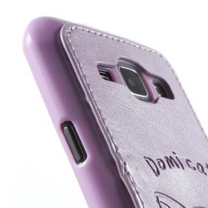 Obal s koženkovými zády a kočičkou Domi pro Samsung Galaxy J1 - fialový - 6