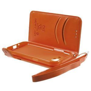 Koženkové pouzdro s kočičkou Domi na Samsung Galaxy J1 - oranžové - 6
