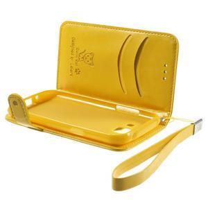 Koženkové pouzdro s kočičkou Domi na Samsung Galaxy J1 - žluté - 6