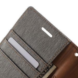 Luxury textilní/pu kožené pouzdro na Samsung Galaxy J5 - šedé - 6