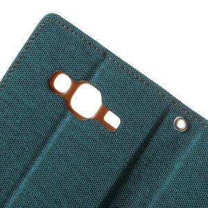 Luxury textilní/PU kožené pouzdro na Samsung Galaxy J5 - zelenomodré - 6