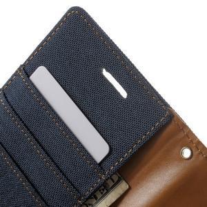 Luxury textilní/pu kožené pouzdro na Samsung Galaxy J5 - tmavěmodré - 6
