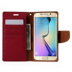 Luxury textilní/koženkové pouzdro pro Samsung Galaxy S6 Edge - červené - 6