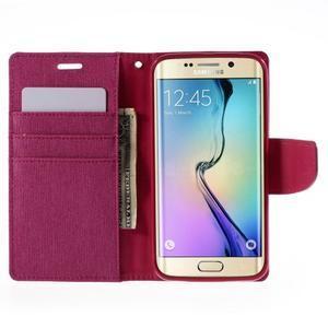 Luxury textilní/koženkové pouzdro pro Samsung Galaxy S6 Edge - rose - 6