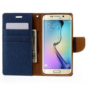 Luxury textilní/koženkové pouzdro pro Samsung Galaxy S6 Edge - modré - 6