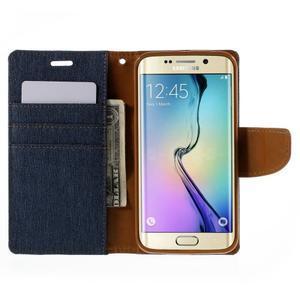 Luxury textilní/koženkové pouzdro pro Samsung Galaxy S6 Edge - jeans - 6