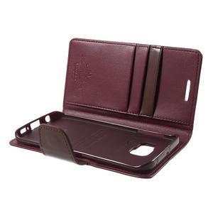 Wallet PU kožené pouzdro na Samsung Galaxy S6 Edge G925 - vínové - 6