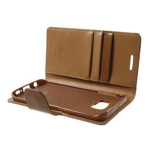 Wallet PU kožené pouzdro na Samsung Galaxy S6 Edge G925 - hnědé - 6