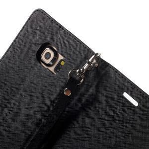 Diary PU kožené pouzdro na Samsung Galaxy S6 Edge - černé - 6