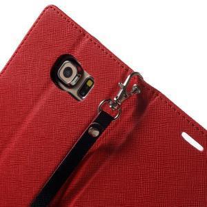 Diary PU kožené pouzdro na Samsung Galaxy S6 Edge - červené - 6