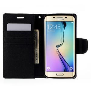 Luxury textilní/koženkové pouzdro pro Samsung Galaxy S6 Edge - černé - 6