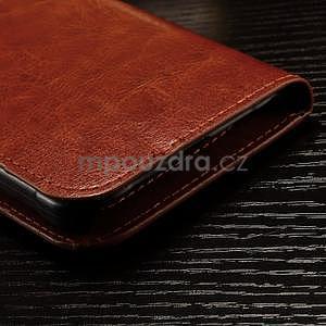 Koženkové peněženkové pouzdro na Samsung Galaxy Xcover 3 - hnědé - 6