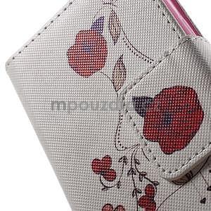 Vzorové peněženkové pouzdro na Samsung Galaxy Xcover 3 - červené květy - 6