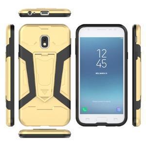 Combo odolný obal se stojánkem na Samsung Galaxy J3 (2017) - zlatý - 6