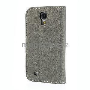 PU kožené peněženkové pouzdro na Samsung Galaxy S4 - šedé - 6