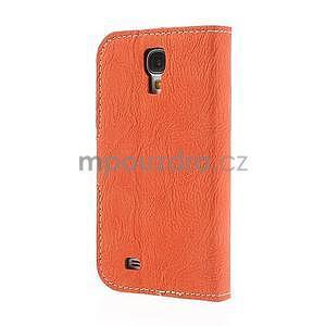 PU kožené peněženkové pouzdro na Samsung Galaxy S4 - oranžové - 6