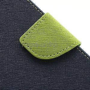 PU kožené peněženkové pouzdro na Samsung Galaxy S4 mini - tmavě modré - 6