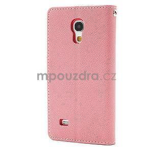 PU kožené peněženkové pouzdro na Samsung Galaxy S4 mini - růžové - 6