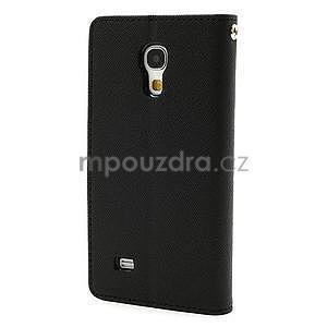 PU kožené peněženkové pouzdro na Samsung Galaxy S4 mini - černé - 6